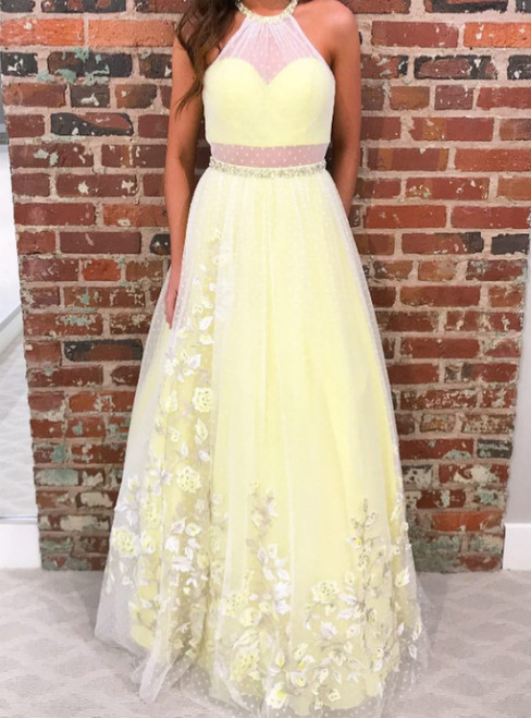 A-Line Yellow Tulle Halter Appliques Long Prom Dress With Beading