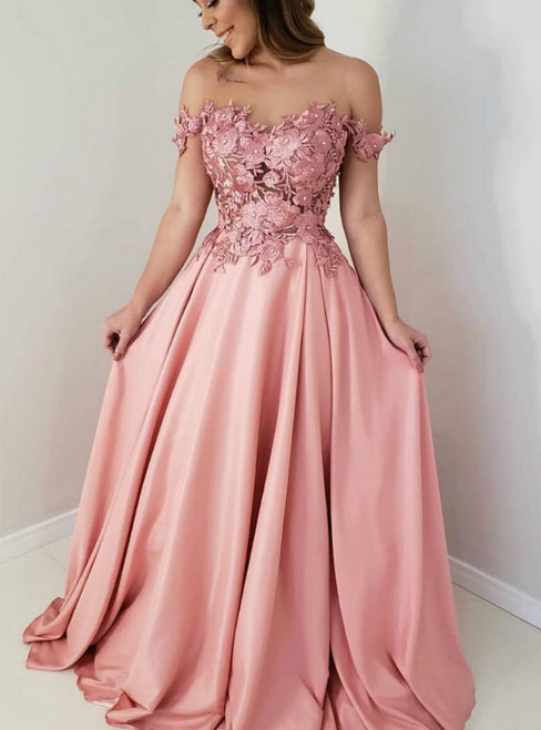A-Line Pink Satin Off the Shoulder Appliques Prom Dress