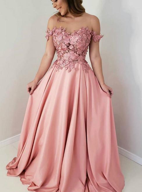 A-Line Pink Satin Off the Shoulder Appliques Prom Dress