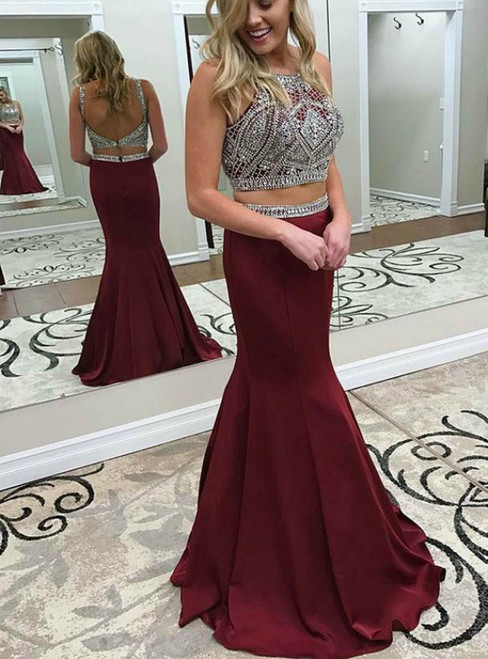 Burgundy Two Piece Crew Backless Prom Dress with Beading