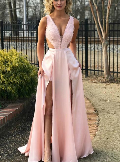 A-Line Pink Lace Satin Cut Out Deep V-neck Prom Dress