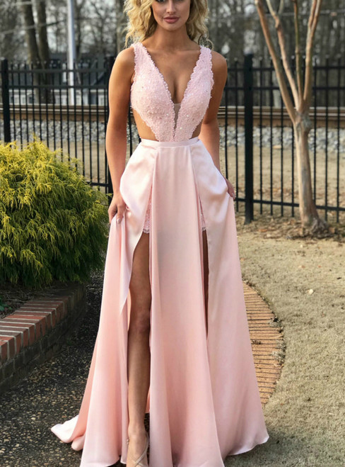 A-Line Pink Lace Satin Cut Out Deep V-neck Prom Dress