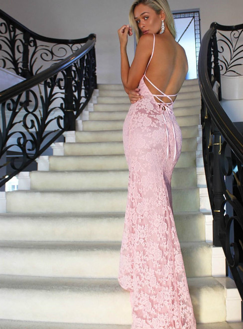 Pink Mermaid Lace Halter Lace Up Back Long Prom Dress