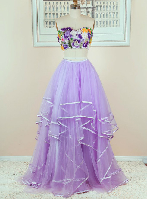 A-Line Purple Tulle Flower Two Piece Long Prom Dress