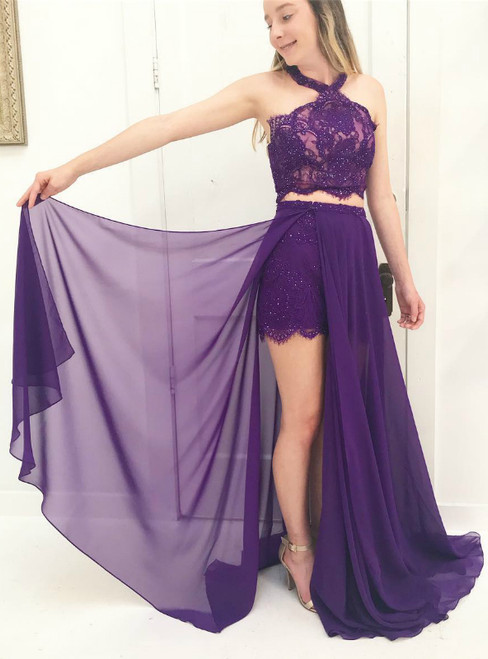 A-Line Purple Chiffon Lace Halter Prom Dress With Beading