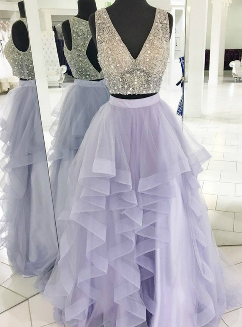 Purple Tulle Deep V-neck Open Back Prom Dress With Beading