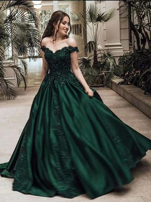 Green Ball Gown Satin Off the Shoulder Appliques Prom Dress