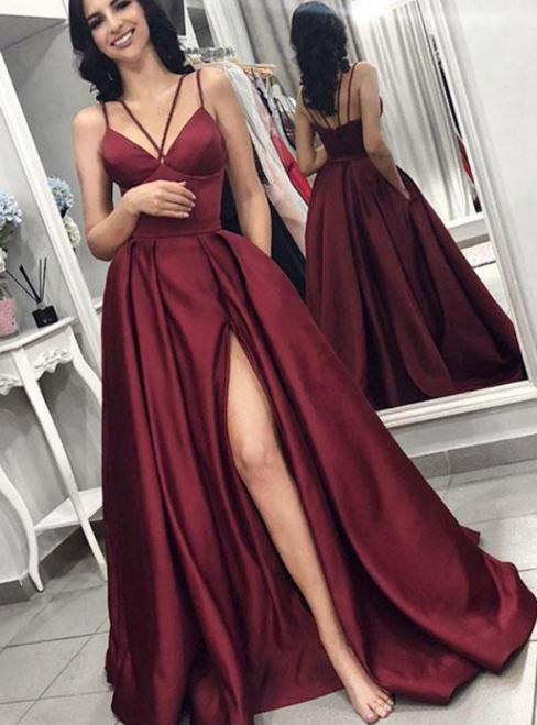 A-Line Burgundy Satin Spaghetti Prom Dress With Pocket
