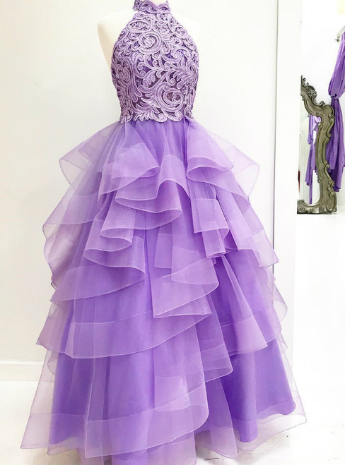 A-Line High Neck Light Purple Tulle Appliques Long Prom Dress with Beading