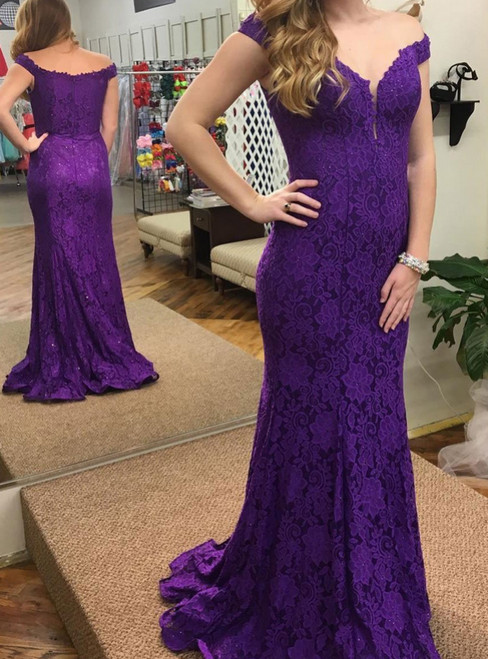 Purple Mermaid Lace Off the Shoulder Floor Length Prom Dress