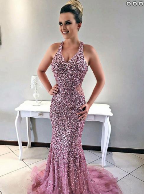 Luxury Pink Mermaid V-neck Tulle Beading Sequins Prom Dress