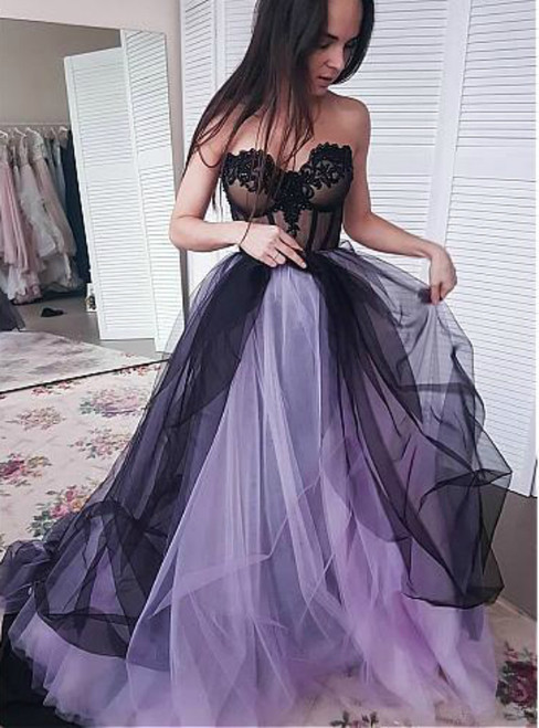 Purple Black Tulle Sweetheart Appliques Beading Prom Dress