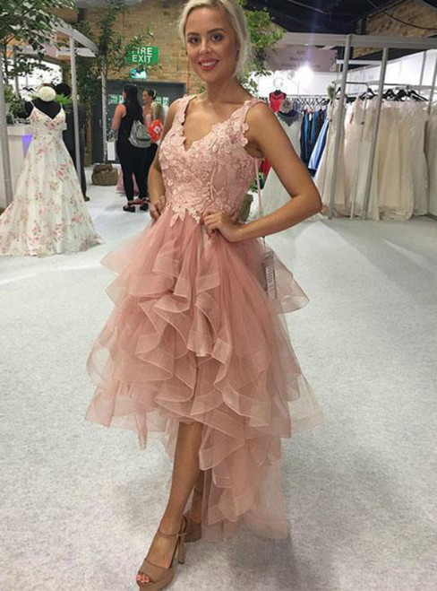 A-Line Pink Tulle Appliques Hi Lo Short Prom Dress