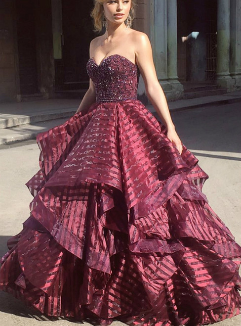 Trendy Ball Gown Sweetheart Burgundy Long Prom with Beading