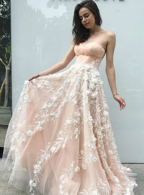 A-Line Sweetheart Light Pink Tulle Long Prom Dress with Flowers