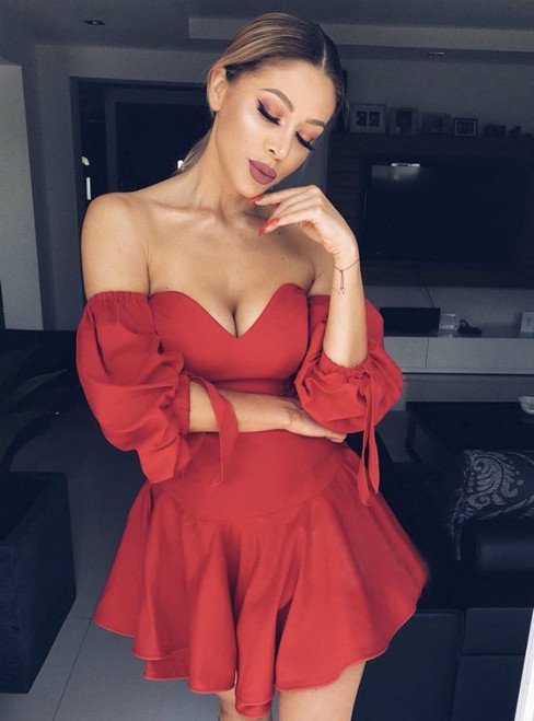A-Line Red Satin Off the Shoulder Puff Sleeve Homecoming Dress