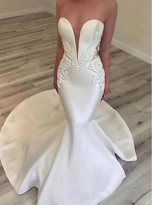 White Mermaid Satin Sweetheart Appliques Wedding Dress