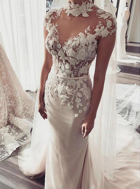 Mermaid Tulle High Neck Cap Sleeve 3D Flower Wedding Dress