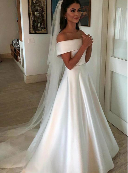 A-Line White Satin Off the Shoulder Wedding Dress With Bow