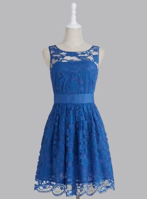 Cheap bridesmaid dresses 2017,Bridesmaid Dress, Simple Royal Blue Scoop Lace Short Knee Length