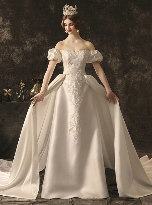 White Ball Gown Off the Shoulder Appliques Wedding Dress With Train