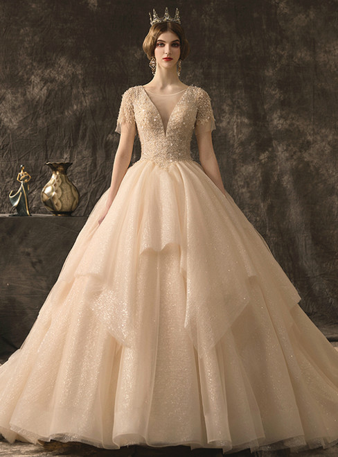 Champagne Ball Gown Tulle Sequins V-neck Short Sleeve Wedding Dress With Beading