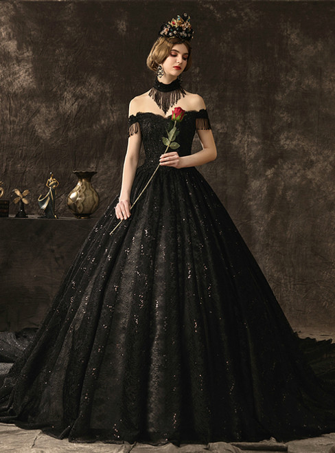 Black Ball Gown Lace Sequins Off the Shoulder Wedding Dress With Beading