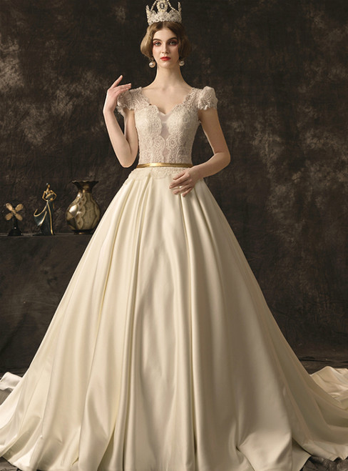 Ivory White Satin Lace V-neck Cap Sleeve Backless Wedding Dress