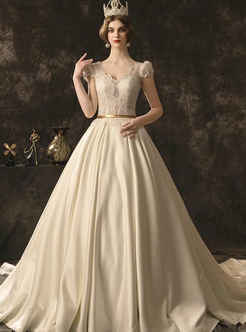 Ivory White Satin Lace V-neck Cap Sleeve Backless Wedding Dress