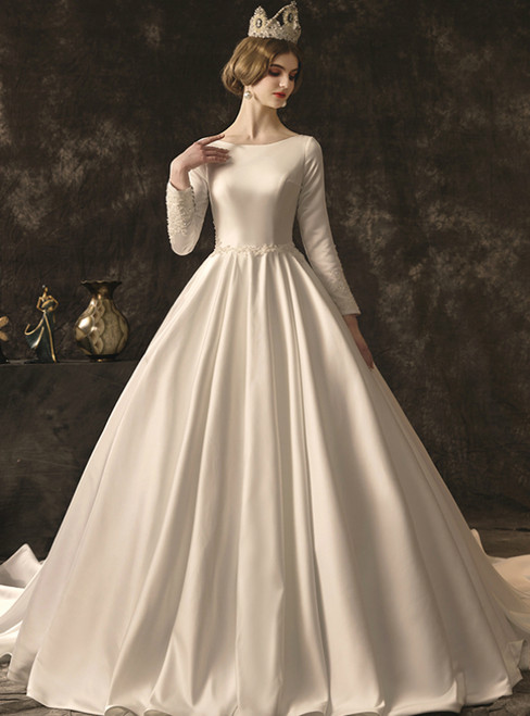 White Ball Gown Satin Long Sleeve Appliques Beading Wedding Dress