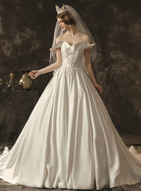 White Ball Gown Satin Off The Shoulder Appliques Wedding Dress With Train