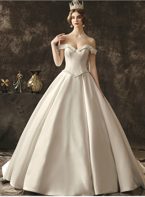 White Ball Gown Satin Off The Shoulder Backless Wedding Dress With Pearls