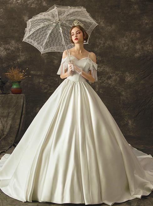 White Ball Gown Satin Straps Satin Wedding Dress With Train