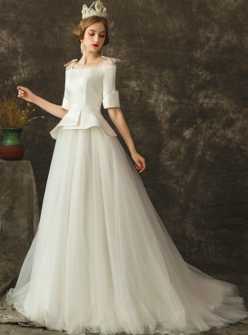 A-Line White Satin Tulle Straps Short Sleeve Wedding Dress