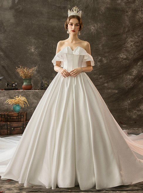 White Ball Gown Satin Off the Shoulder Lotus Leaf Edge Wedding Dress