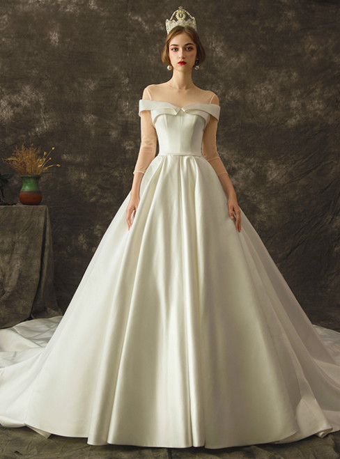 White Ball Gown Satin 3/4 Sleeve Backless Wedding Dress With Train