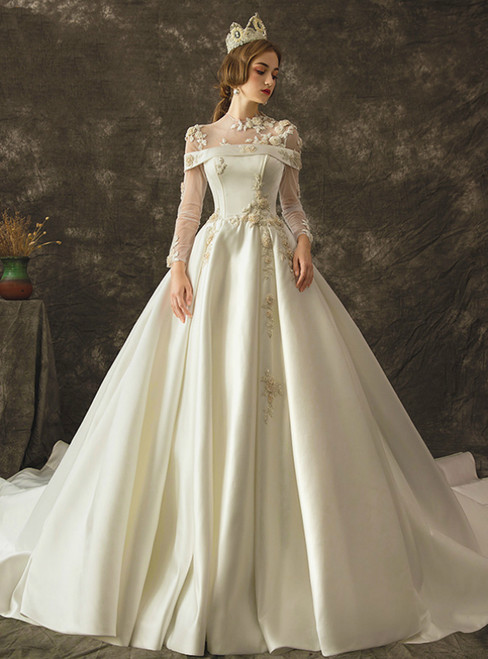 White Ball Gown Satin Long Sleeve Long Sleeve Wedding Dress With Beading