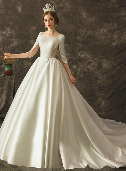 White Ball Gown Satin Half Sleeve Hollow Out Wedding Dress With Train