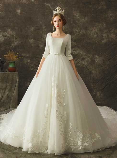 White Ball Gown Tulle Appliques Square Half Sleeve Wedding Dress