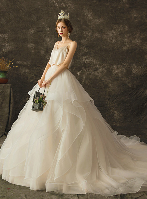 Champagne Ball Gown Tulle Satin Spaghetti Straps Wedding Dress