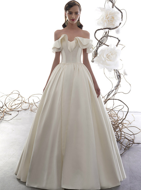 Ivory White Satin Off the Shoulder Corset Floor Length Wedding Dress