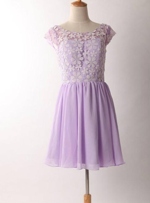Graceful Purple Lace Round Neckline Short Prom Dresses Purple Bridesmaid dresses  Graduation Dresses