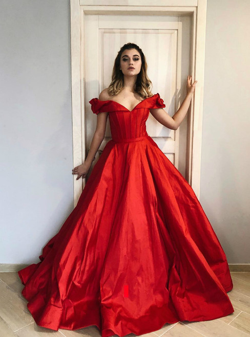 Fashion Red Ball Gown Satin Off the Shoulder Prom Dress
