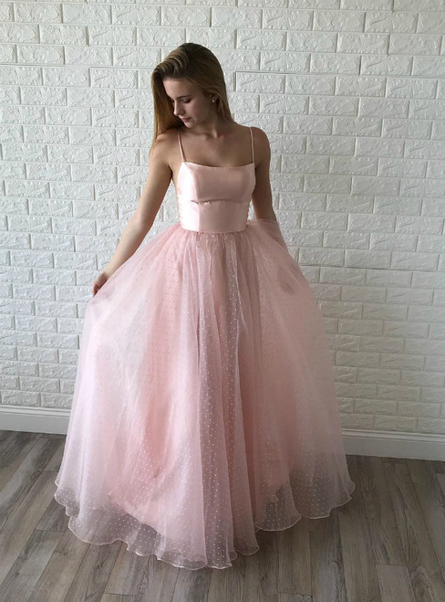 A-Line Pink Tulle Spaghetti Straps Backless Prom Dress