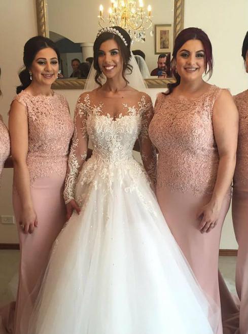Prom Dresses Evening Dress pink lace cap sleeves mermaid dress long satin bridesmaid dress