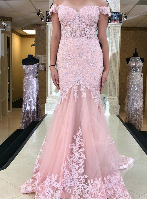 Pink Mermaid Lace Tulle Off the Shoulder Long Prom Dress