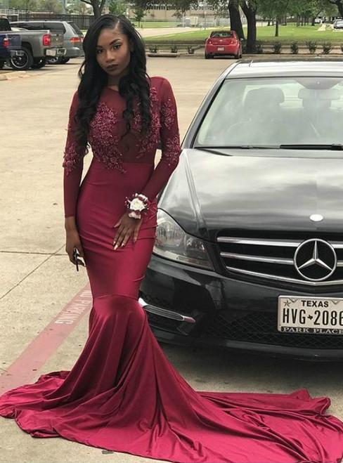 Burgundy Mermaid Satin Long Sleeve Appliques Prom Dress