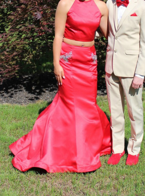 Red Two Piece Mermaid Satin Halter Long Prom Dress With Pocket