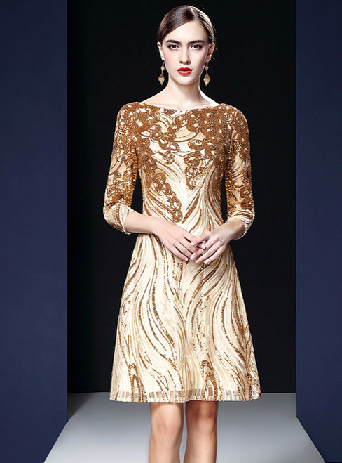 Gold Tulle Sequins 3/4 Sleeve Short Knee Length Mother Of The Bride Dress