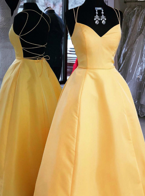 A-line Spaghetti Straps Long Yellow Satin Backless Prom Dress